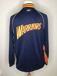 Golden State Warriors NBA Reebok Navy Team Warm-Up Zip Jacket 2005-2006 Sz L