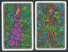 #930.052 vintage swap card -MINT- Pair, Lady & Man in stained glass