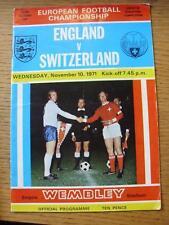 10/11/1971 England v Switzerland [At Wembley] (Folded)