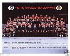 1991-92 CHICAGO BLACKHAWKS STANLEY CUP TEAM 8x10 PHOTO BELFOUR ROENICK CHELIOS