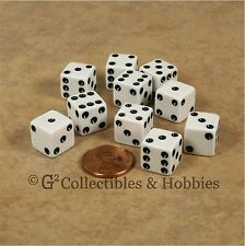 NEW Set of 10 White 12mm D6 Six Sided RPG MTC 1/2 inch Game Dice Set Koplow