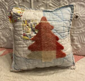 NEW Handmade Christmas Tree Pillow  Vintage Quilt  Chenille Bedspread  Cute!
