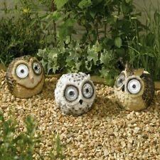 Choice Of 3 Different Styles Bright Eye Owls Solar Powered Garden Ornament Light