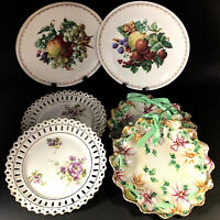 DECORATIVE CABINET DISPLAY PLATES LOT OF 6 J C BAVARIA FLORAL HAND PAINTED