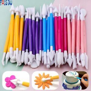 8Pcs Fondant Cake Decorating Modelling Tools Pen Flower Craft Baking Mold