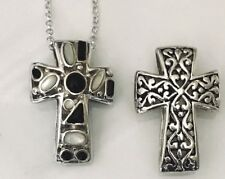 """Sterling Silver REVERSIBLE Oxidized Cross Pendant Onyx & Mother Of Pearl~18"""""""