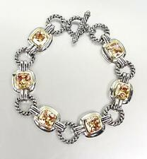 EXQUISITE Silver Cable Rings Brown Topaz CZ Crystal Links Toggle Bracelet