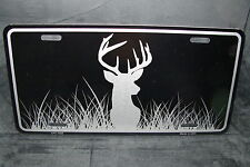DEER BLACK BRUSHED METAL NOVELTY LICENSE PLATE TAG FOR CARS