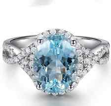 Fine 3.80ct 18K Solid White Gold 9*11mm Natural Aquamarine Diamond Gorgeous Ring