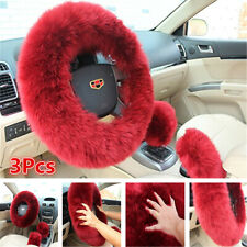 3Pcs Winter Fur Wool Car Steering Wheel Cover Red Wine Furry Fluffy Thick Kit