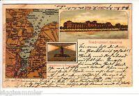 Gruss aus Friedrichsort Kiel AK Litho Leuchtturm Schleswig-Holstein 1505605*