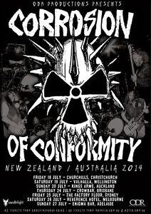 CORROSION OF CONFORMITY 2014 Australia New Zealand Tour Poster A3 IX C.O.C.*NEW*