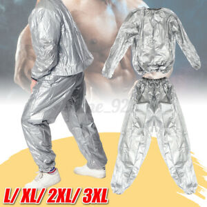 Silver Heavy Duty Sweat Sauna Suit Exercise Gym Fitness Weight Loss Anti-Rips