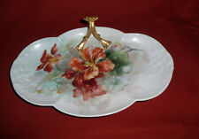 Limoges Porcelain Nappy ~ Hand Painted Red/Orange Flowers ~ Wg & Co, France