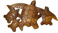 SEA TURTLE Family Wood Hand Carved Ocean Sand Island Tropical Wall Art Plaque