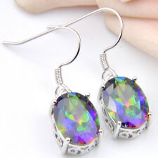 Rainbow Oval Fire Mystic Topaz Silver Plated Dangle Earrings 1 1/4 Inch
