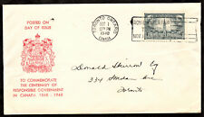 """CANADA 1948 FIRST DAY COVER """"CENTENARY OF RESPONSIBLE GOVERNMENT"""" SC# 277 [158]"""