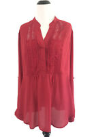 Torrid Womens Size 1 Red Lace Front Blouse Roll Tab Sleeves Chiffon Button Front