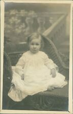 Baby Girl Sitting On Wicker Chair  Backdrop   Ri.528