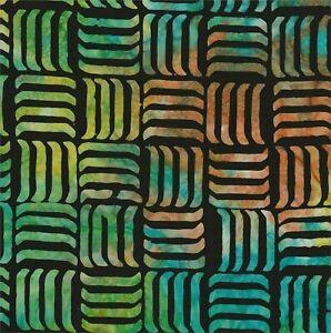Rainbow Lines on Black B/G-#5521-Batik Textiles-Fat Quarter