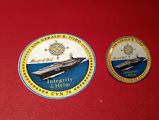 USS GERALD R FORD `CVN 78 CARRIER`:  GOLD PLATED BADGE  &  FREE   STICKER