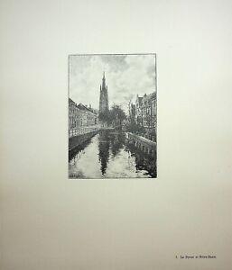 🌓 GEORGES SALLE Bruges Le Dyver et Notre-Dame gravure sur vélin d'Arches #7