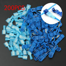 (200) T-Taps + Male Disconnect Wire Connectors Blue 16-14 AWG Gauge Terminals