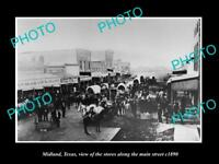 OLD LARGE HISTORIC PHOTO OF MIDLAND TEXAS, VIEW OF MAIN STREET & STORES c1890