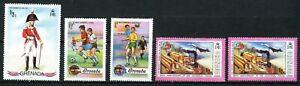 Grenada 1971 & '74, Scott # 428, 553, 554, 562, Mint/hinged.