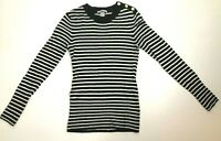 H&M women's black and white striped thin sweater XS long sleeve
