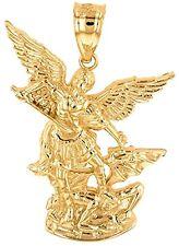 Fine 10k Yellow Gold Saint Michael The Archangel Charm Pendant