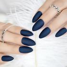 STILETTO MATTE *NAVY BLUE* Full Cover Press On 24 Nail Tips + Glue!
