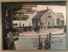 "Signed Original Watercolor by George D. Post ""Seascape Dock"" Custom Framed"