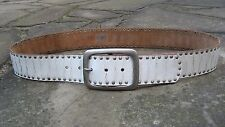 L/XL - Retro Wide White Leather Belt womens with large oblong buckle stud detail