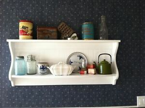 White Plate Rack Wall Shelf Country Wood Display Plate and Bowl Rack Primtive
