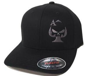 Ace of Spades Sniper Embroidered FLEXFIT Black Cap Hat, 5001