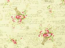 Patchworkstoffe Lecien Rosenstoffe rosa Rosen Rosensträuße  Schrift auf Creme BW