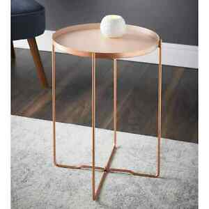 Bedside Console Tables Side end Round Removeable Tray Table with Copper Legs 447