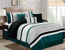 7 Pcs Oversize Luxury Stripe Bed in Bag Microfiber Comforter Set, Teal, Cal King