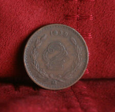 Mexico 2 Centavos 1939 Bronze World Coin KM419 Eagle Snake Wreath two cents
