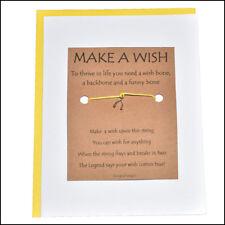 Thoughtful Greeting Card and Wish Bracelet Make a Wish with Wishbone Charm -
