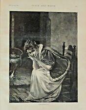 Cinderella, Fairy Tale, Folk Tale, Pretty Girl, Vintage 1895 Antique Art Print