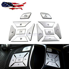 Fit For Mercedes Benz W204 C 2012-2016 Steering Wheel Button Silver Trim Cover