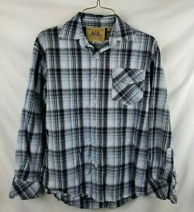 Raider Jean Co M Men Infringement Plaid Flannel Button Up Blue Black Shirt