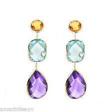 14K Yellow Gold Gemstone Earrings With Citrine, Blue Topaz And Amethyst