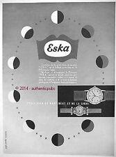 PUBLICITE ESKA MONTRE PORTE DRAPEAU HORLOGERIE SUISSE DE 1952 FRENCH AD PUB
