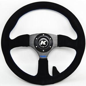 KODE-350mm Half Dish Suede Steering Wheel Blue Stitch Fit 6x70mm PCD Boss Kit