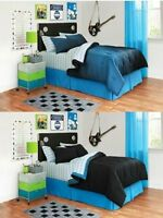 8pc Black Blue Squares Full Size Comforter Reversible Bed in a Bag Bedding Set