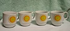 4 Georges Briard Designed Florette Coffee Cuos Mugs Orange Yellow Flower
