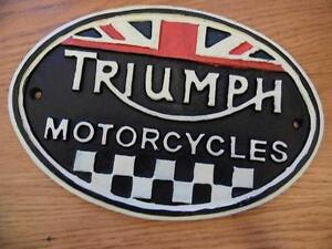 FABULOUS LARGE CAST IRON WALL PLAQUE ADVERTISING SIGN TRIUMPH MOTORCYCLES